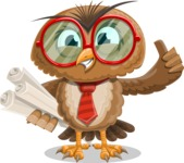 Owl with a Tie Cartoon Vector Character AKA Owlbert Witty - Plans