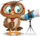 Owl with a Tie Cartoon Vector Character AKA Owlbert Witty - Telescope