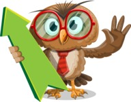 Owl with a Tie Cartoon Vector Character AKA Owlbert Witty - Pointer 1