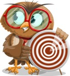 Owl with a Tie Cartoon Vector Character AKA Owlbert Witty - Target