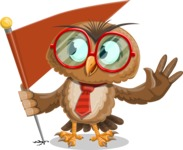 Owl with a Tie Cartoon Vector Character AKA Owlbert Witty - Checkpoint
