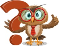 Owl with a Tie Cartoon Vector Character AKA Owlbert Witty - Question