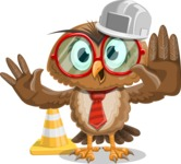 Owl with a Tie Cartoon Vector Character AKA Owlbert Witty - Under Construction 1