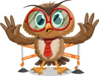 Owl with a Tie Cartoon Vector Character AKA Owlbert Witty - Under Construction 2