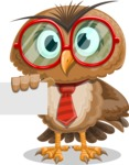 Owl with a Tie Cartoon Vector Character AKA Owlbert Witty - Sign 1