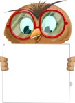 Owl with a Tie Cartoon Vector Character AKA Owlbert Witty - Sign 5