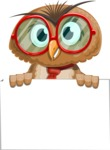 Owl with a Tie Cartoon Vector Character AKA Owlbert Witty - Sign 6
