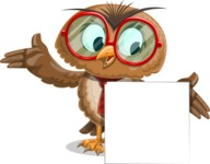 Owl with a Tie Cartoon Vector Character AKA Owlbert Witty - Sign 7