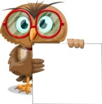 Owl with a Tie Cartoon Vector Character AKA Owlbert Witty - Sign 8