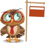 Owl with a Tie Cartoon Vector Character AKA Owlbert Witty - Sign 9