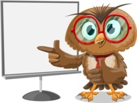 Owl with a Tie Cartoon Vector Character AKA Owlbert Witty - Presentation 2