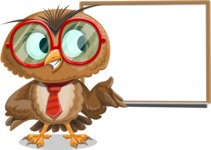 Owl with a Tie Cartoon Vector Character AKA Owlbert Witty - Presentation 3