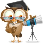vector owl character illustration ultimate pack - Telescope