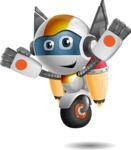robot vector cartoon character design - OWAF - Flying
