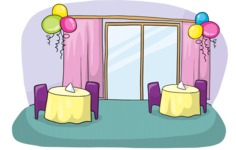 Restaurant Interior with Balloons
