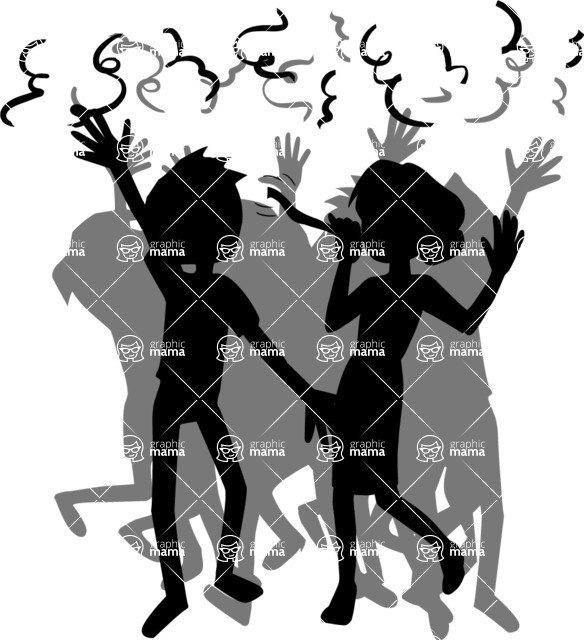 Party: Let's Have Fun - People Partying Silhouette