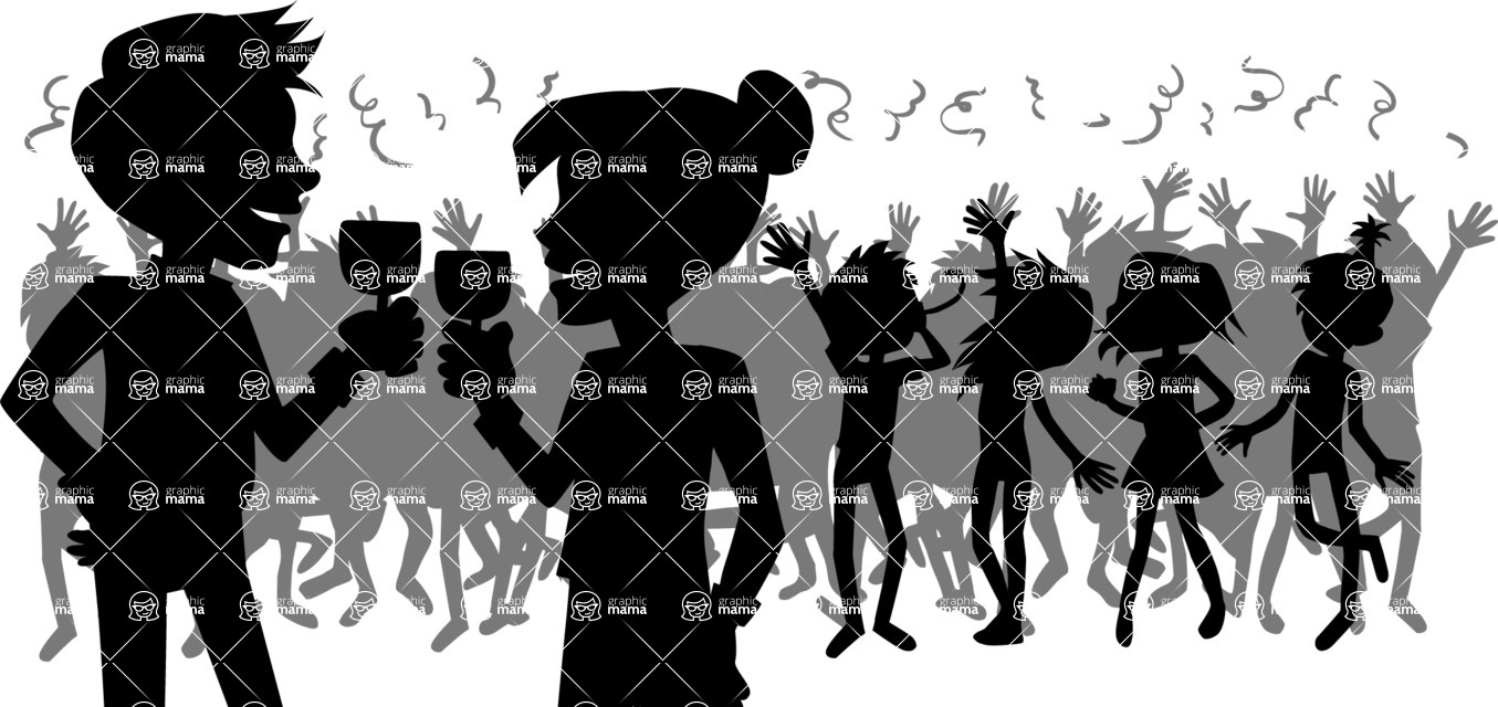 Party: Let's Have Fun - Party Crowd Silhouette