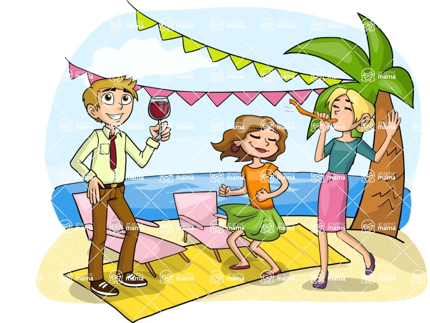 Party: Let's Have Fun - Beach Party Illustration