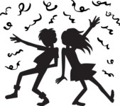 Party: Let's Have Fun - Boy and a Girl Dancing Silhouettes