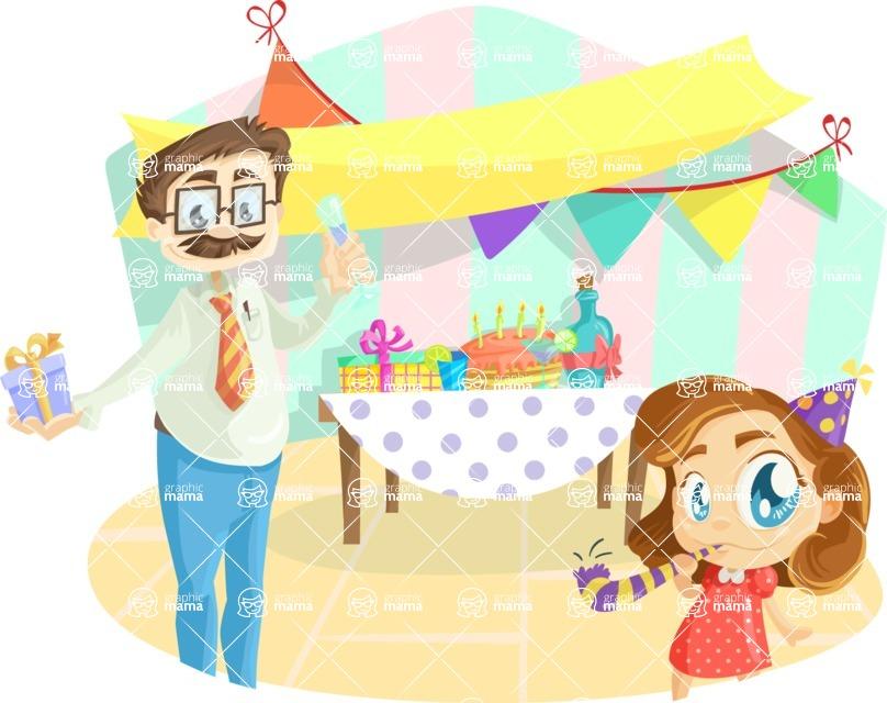 Party Vectors - Mega Bundle - Dad and Daughter at a Party
