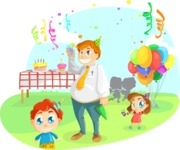Party Vectors - Mega Bundle - Dad with Kids at a Birthday Party
