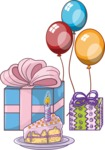 Birthday Cake, Gifts and Balloons