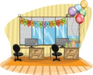 Happy Birthday Office Illustration