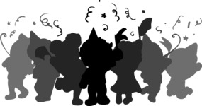Kids Partying Silhouette