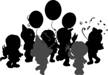 Kids Party With Balloons Silhouette