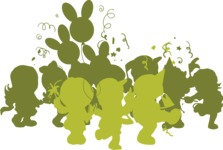 Kids Party Crowd Silhouette