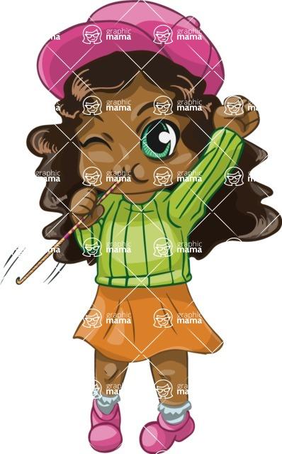 Birthday Vectors - Mega Bundle - African American Chibi Girl