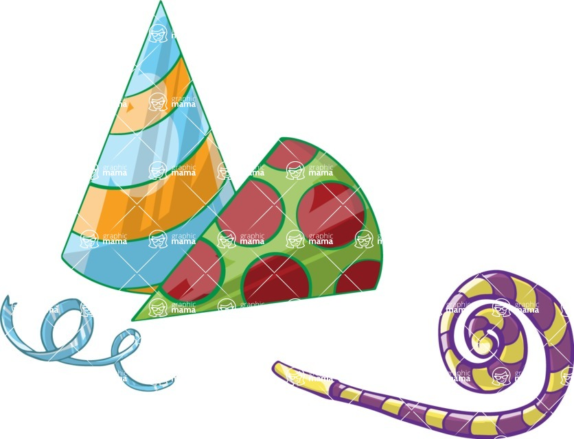 Birthday Vectors - Mega Bundle - Party Hats and a Whistle