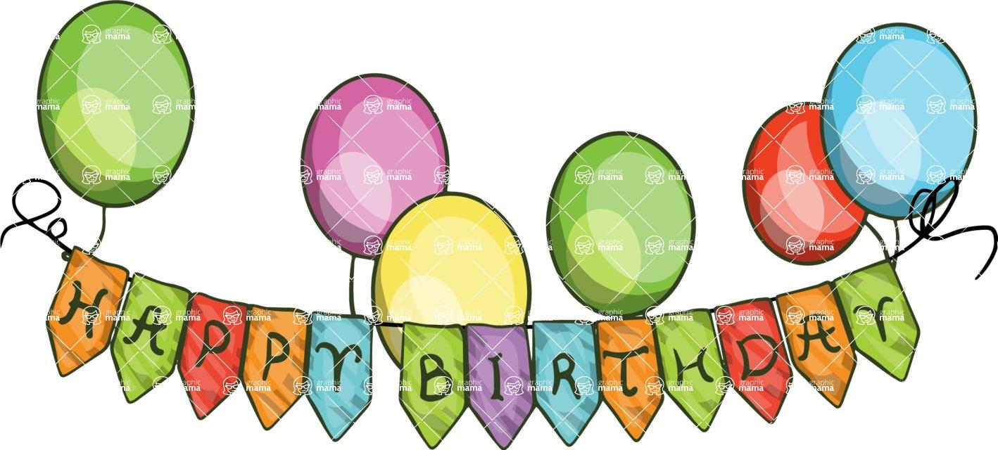 Birthday Vectors - Mega Bundle - Happy Birthday Banner Flags