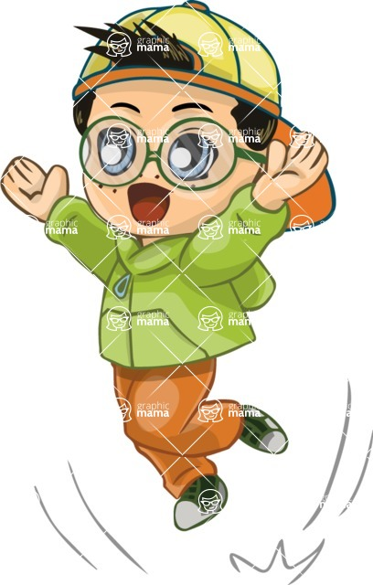 Birthday Vectors - Mega Bundle - Chibi Boy Jumping