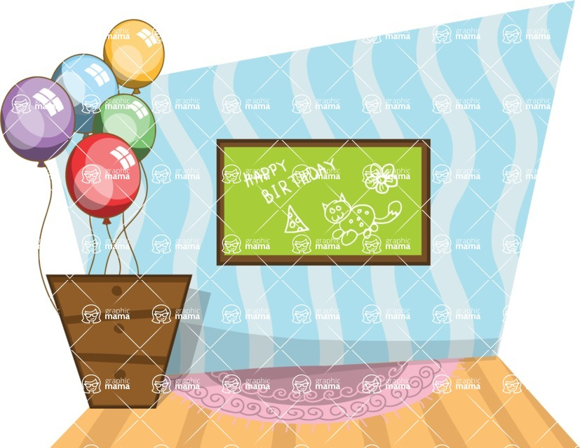Birthday Vectors - Mega Bundle - Room Decorated For a Birthday
