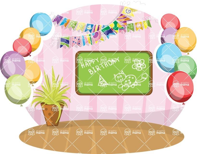 Birthday Vectors - Mega Bundle - Birthday Decoration in a Room