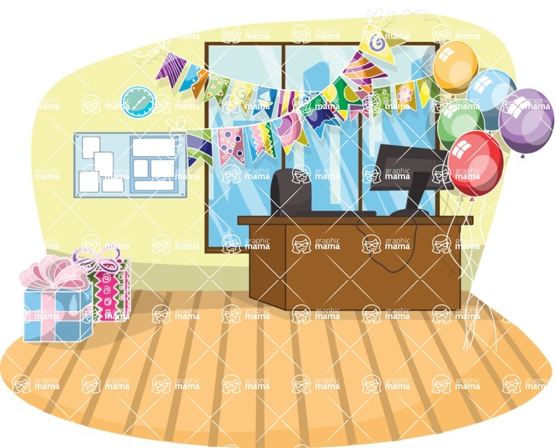 Birthday Vectors - Mega Bundle - Birthday Decorated Office