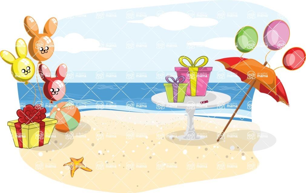 Birthday Vectors - Mega Bundle - Beach Birthday Party Decoration