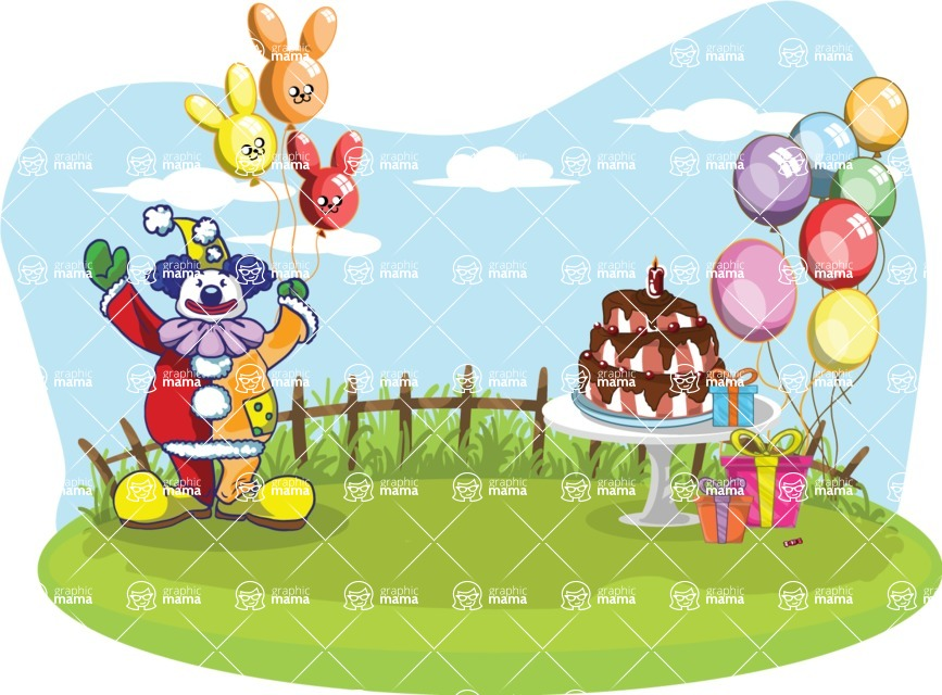 Birthday Vectors - Mega Bundle - Birthday Party Setup and Clown