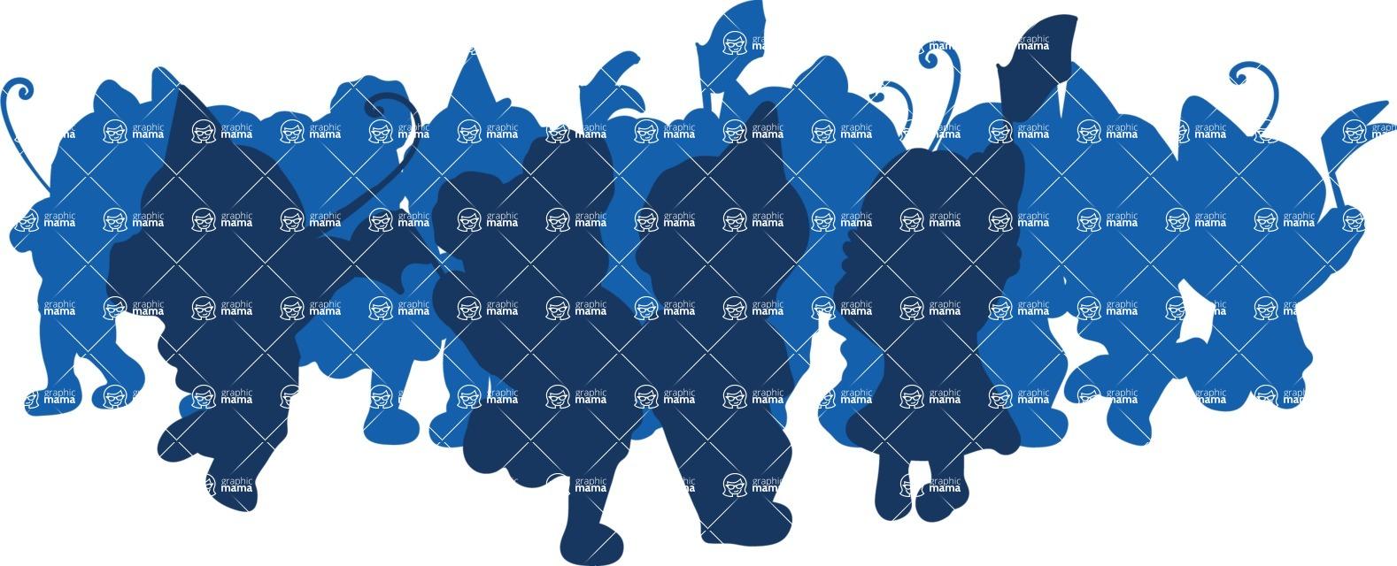 Birthday Vectors - Mega Bundle - Children Party Crowd Silhouette