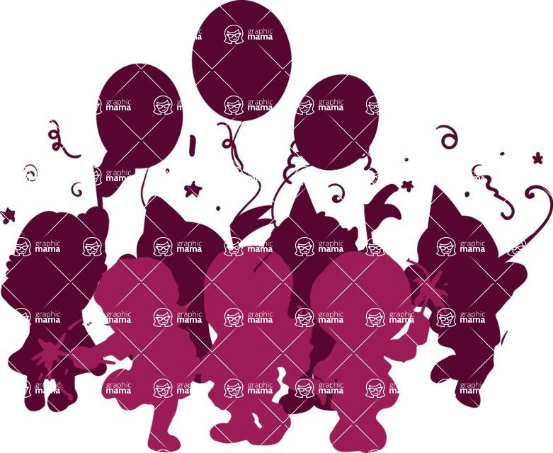 Birthday Vectors - Mega Bundle - Children's Birthday Party Silhouette