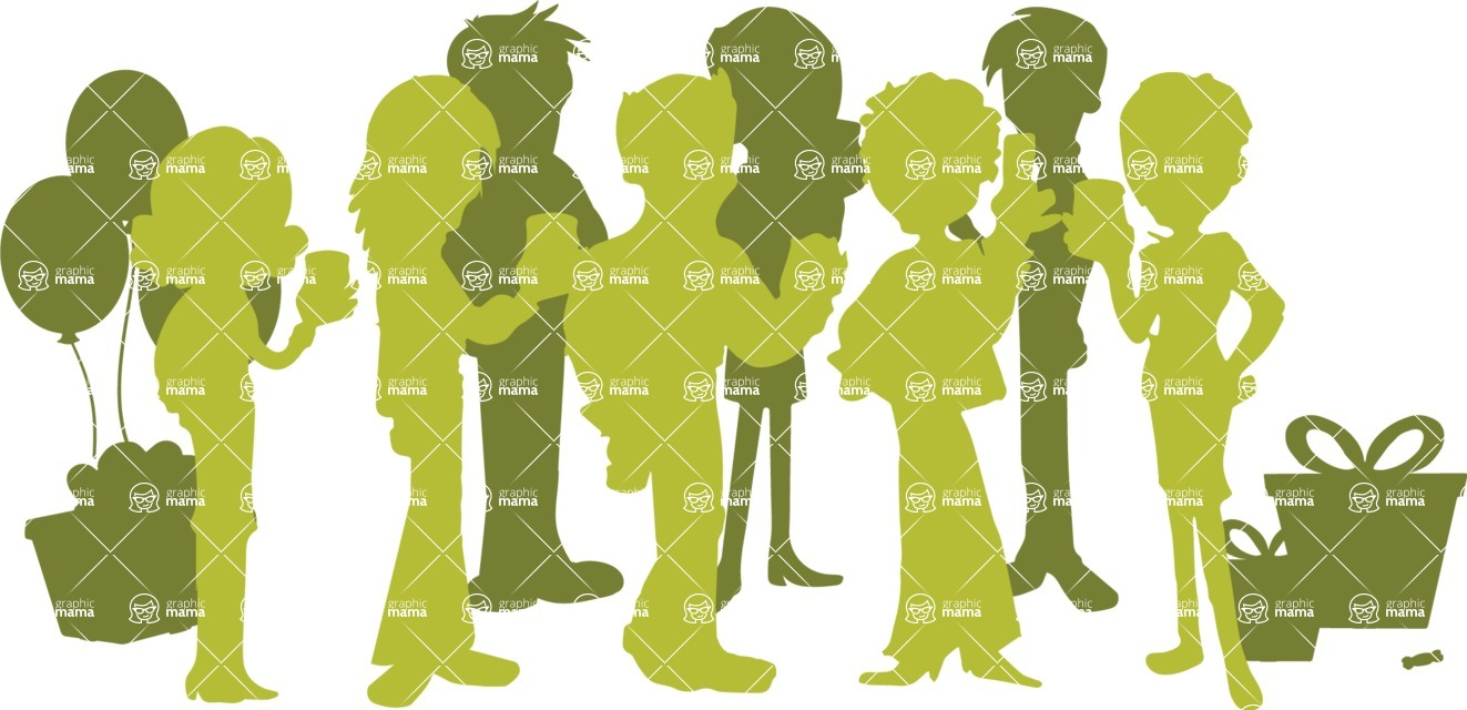 Birthday Vectors - Mega Bundle - People at a Party Silhouette