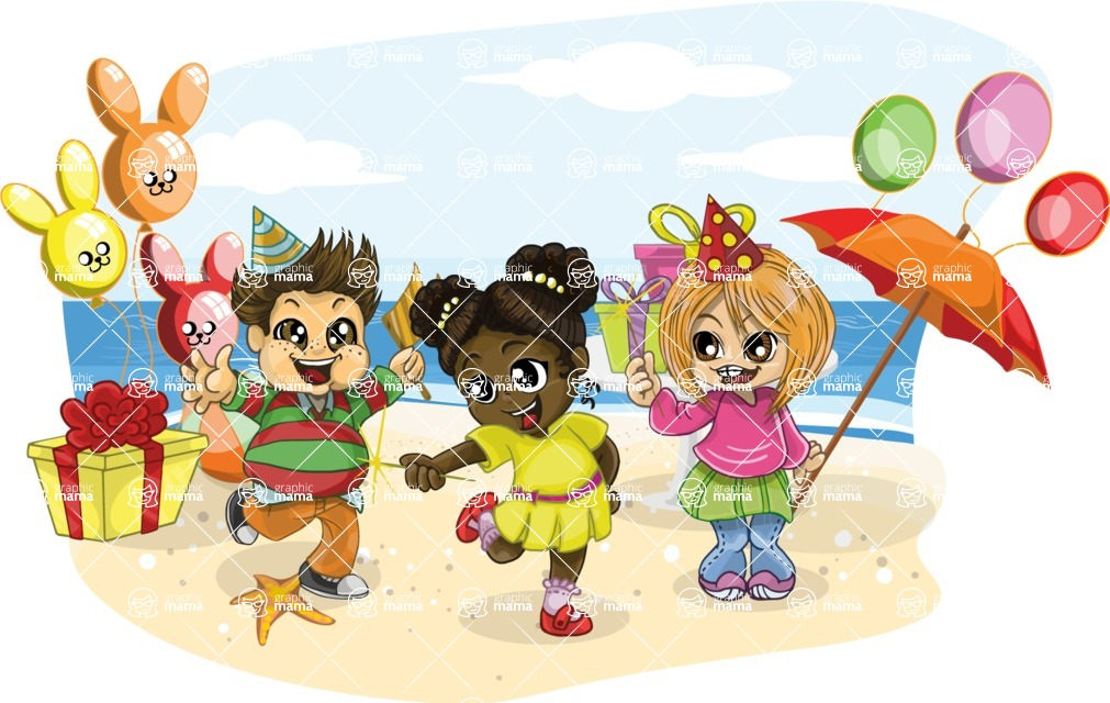 Birthday Vectors - Mega Bundle - Kids Birthday Beach Party