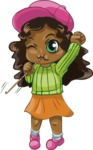 Birthday Vectors - Mega Bundle - African American Chibi Girl