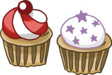 Birthday Vectors - Mega Bundle - Cupcakes Illustration
