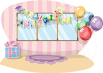 Birthday Vectors - Mega Bundle - Girls Room Decorated for a Party