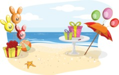 Birthday Vectors - Mega Bundle - Beach Birthday Party Decoration