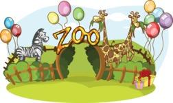 Birthday Vectors - Mega Bundle - Zoo Decorated With Balloons