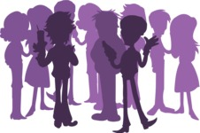Birthday Vectors - Mega Bundle - Crowd of People Silhouette