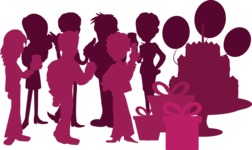 Birthday Vectors - Mega Bundle - Birthday Party Crowd Silhouette